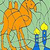 Solo camello en el desierto para colorear juego