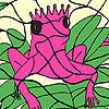 Colorear rana rosa sola juego