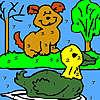 Solo perro y pato para colorear juego
