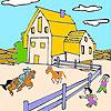 Gran granja y caballos para colorear juego