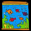 Acuario grande y coloridos peces para colorear juego