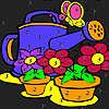 Grandes flores en el jardín para colorear juego