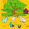 Árbol grande de la granja y animales para colorear juego