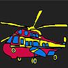 Para colorear helicóptero militar colorido juego