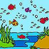 Peces de mar colorido para colorear juego