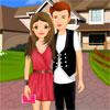 Linda pareja romántica de vestir juego