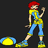 Cute chica deportiva para colorear juego