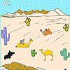 Desierto y camellos para colorear juego