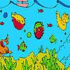 Peces de mar profundo y algas para colorear juego