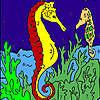 Profundos caballos de mar para colorear juego