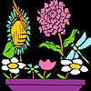 Libélulas en las flores para colorear juego