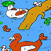 Familia del pato en la coloración del río juego