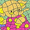 Elefante en vestido rosa para colorear juego