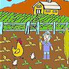 Granjero y verduras para colorear juego