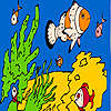 Fishes and sea sponges coloring juego