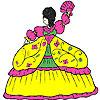 Esponjoso Vestido de niña para colorear juego