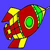 Vuelo para colorear del cohete de espacio juego