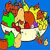 Frutas frescas en la coloración de la cesta juego
