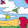 Niña y los pájaros en el colorante de campo juego