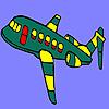 Para colorear de avión vuelo verde juego