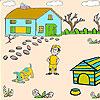 Cazador y perro pequeño para colorear juego