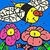Abeja hambrienta en el jardín para colorear juego
