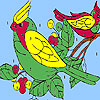 Hungry birds on the tree coloring juego