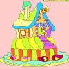 Niños para colorear casa de jengibre juego