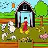 Corderos de la granja para colorear juego
