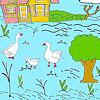 Pequeña granja y patos para colorear juego