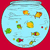 Little fishes in the aquarium coloring juego