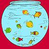 Peces pequeños en el color de acuario juego