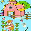 Niño en el jardín para colorear juego