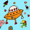 Meteorite and astronauts coloring juego