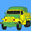 Military green trucks coloring juego