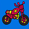 Mini red motorcycle coloring juego