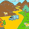 Mountain and cows coloring juego