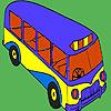 Moderno autobús escolar para colorear juego