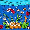 Océano y coloridos peces para colorear juego