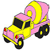 Pink concrete truck coloring juego