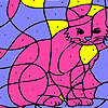 Pink house cat coloring juego