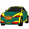 Colorear coche verde público juego