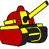 Red military tank coloring juego