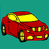 Red longer car coloring juego
