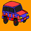 Red mountain jeep coloring juego