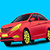 Red holding car coloring juego