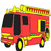 Red fire fighting car coloring juego