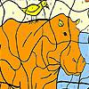 Rhino y aves para colorear juego