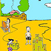 Sand castles on the beach coloring juego