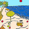 Sandcastles on the beach coloring juego
